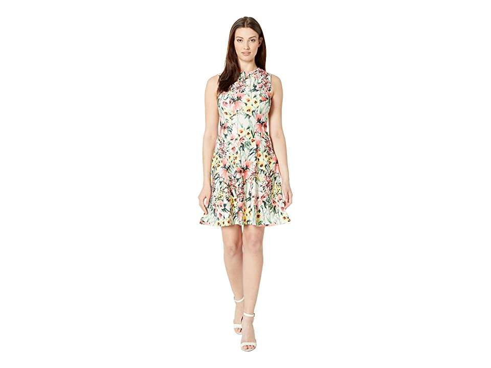 Tommy Hilfiger Garden Floral Fit and Flare Dress (Parchment Multi) Women