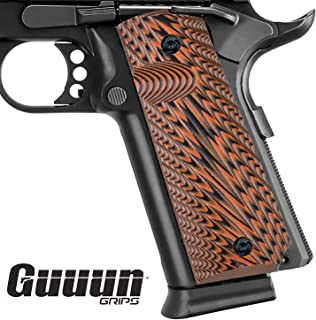 Guuun 1911 Grips Full Size Government Commander G10 Grips Ambi Safety Cut Aggressive Starburst Texturl