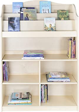 Guidecraft 3-Shelf Wooden Waterfall Book Display: Kids' Classroom Bookshelf, Playroom Bookcase Organizer, School Furniture