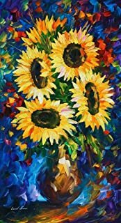 Flowers Wall Art Floral Oil Painting On Canvas By Leonid Afremov Studio - Night Sunflowers