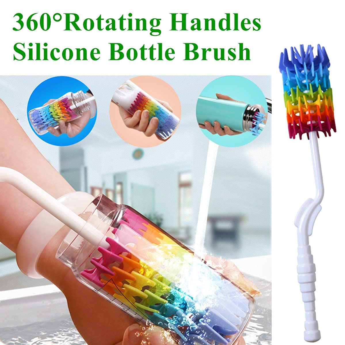 Bottle Brush Cleaner-Baby Milk Bottle Cleaner Soft Silicone Bottle Brusher / 360 Degree Rotating Long Handle Brush for Washing Glassware, Cup, Decanter, Narrow Neck Brewing Bottle