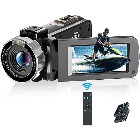 ビデオカメラ Rosdeca デジタルビデオカメラ HD 1080P 3600万画素 16倍デジタルズーム WIFI転送機能 大容量128GBSDカード対応 リモコン付き 遠隔操作可 IR赤外線暗視機能 270度回転 バッテリー2つあり 日本語取扱説明書