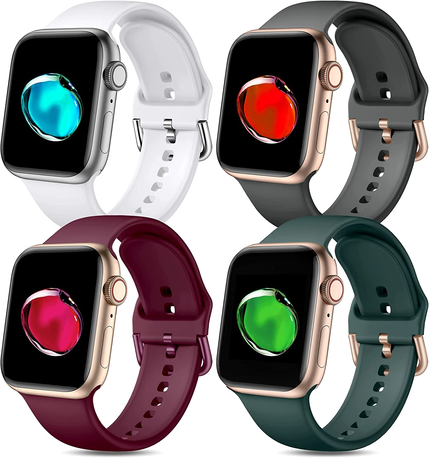 Witzon Compatible with Apple Watch Band 40mm 38mm 42mm 44mm iWatch Series 6 5 4 3 2 1 SE for Women Men Girls, Sport Soft Silicone Replacement Adjustable Strap Wrist Bands Accessories