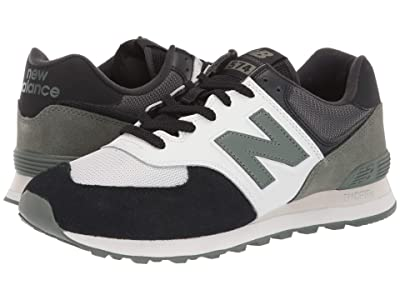 New Balance Classics 574v2-USA (Black/Slate Green Suede/Mesh) Men