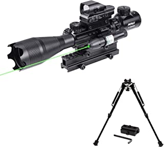 Pinty Rifle Scope 4-16X50 Illuminated Reflex Holographic Dot Sight & Rifle Bipod Compatible with Picatinny Rail System Adj...