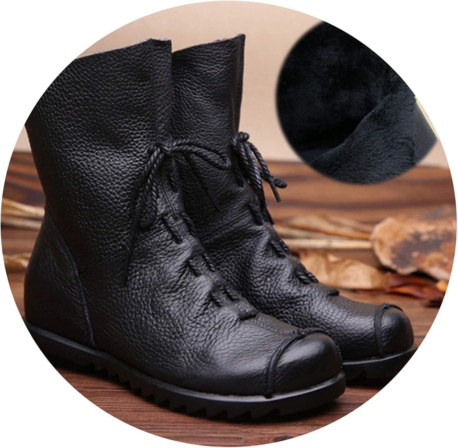 Sunmiles Genuine Leather Women Boots Flat Booties Soft Women's shoes Zip Ankle Boots Women shoes