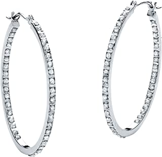 Platinum over Sterling Silver Genuine Diamond Accent Inside Out Hoop Earrings (31mm)