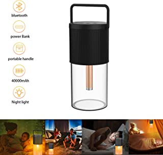Night Light Bluetooth Speakers,VEGASIGNS Charger Waterproof Portable Lamp Wireless Design with Metal Handle,Orange Warm Dimmable Color,Camping Outside Lantern