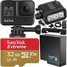 GoPro HERO8 (Hero 8) Action Camera (Black) with SanDisk Extreme 32GB microSDHC Memory Card (UHS-I / V30 / U3 / A1) & Rechargeable Underwater LED Light with Bracket