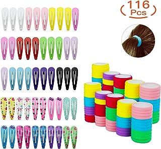 HBselect Conjunto De 66 Gomas Pelo Niña Y 50 Clips Pelo Niña Multicolor Nilón Pinzas Pelo Bebe Niña Accesorios Para El Pelo Niña