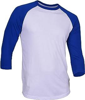Dream USA Men's Casual 3/4 Sleeve Baseball Tshirt Raglan Jersey Shirt White/.