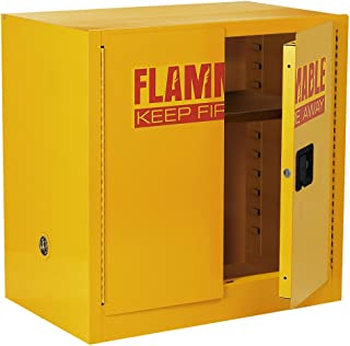 Sandusky Lee SC22F Yellow Steel Safety Cabinet for Flammable Liquids, 1 Shelf, 2 Door Manual Close, 22 Gallon Capacity, 35