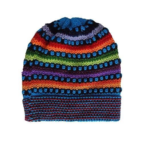 69cc342b3df Gamboa Multicolor Hand Knit Alpaca Beanie Hat Cap