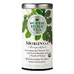 The Republic of Tea Organic Moringa Superherb Herbal Tea, Caffeine-Free, Non-GMO Verified (36 Tea Ba