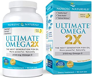 Nordic Naturals Ultimate Omega 2X, Lemon Flavor - 2150 mg Omega-3 - 180 Soft Gels - High-Potency Omega-3 Fish Oil with EPA & DHA - Promotes Brain & Heart Health - Non-GMO - 90 Servings