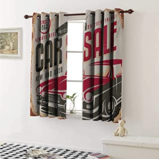 shenglv Retro Drapes for Living Room Nostalgic Car Sale Sign New and Used Auto Advertising American Style Urban Life Curtains Kitchen Window W96 x L72 Inch Cream Grey Red