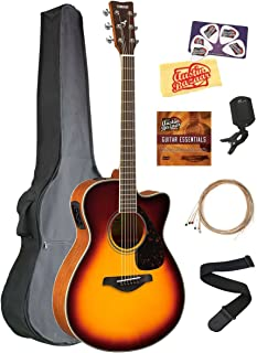 Yamaha FSX820C Small Body Acoustic-Electric Guitar Bundle with Gig Bag, Tuner, Strap, Instructional DVD, Strings, Picks, and Polishing Cloth - Brown Sunburst