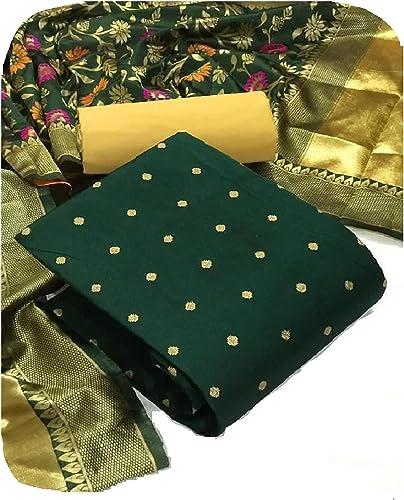 Fashion Hot Releases Women s Banarasi Jacquard Chanderi Cotton Unstitched Salwar Suit Dress Material