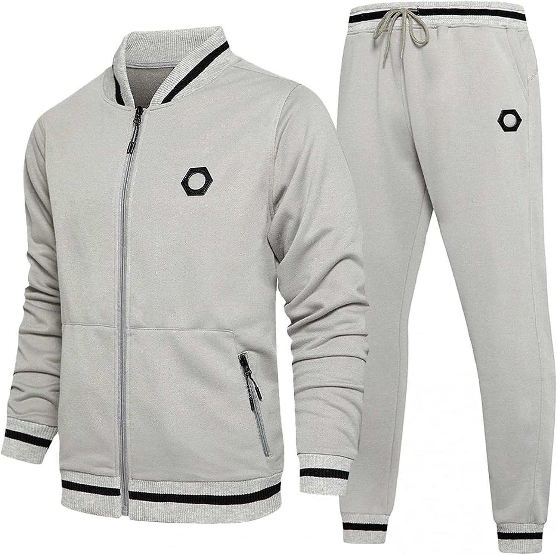 Mens Athletic Full Zip Tracksuits Casual Sweatpants & Jacket Sets Long Sleeve Jogging Sports Gym Sweatshirt Suit
