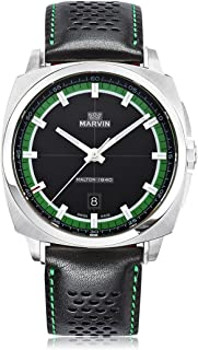 スイス製 Marvin 石英ムーブメント ステンレスケース 緑とブラックの文字盤 ブラックレザーストラップ 男性 メンズ ファッション腕時計