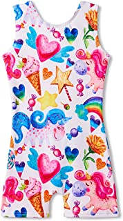 Leotards for Girls Gymnastics Kids Children Biketard with Shorts Dance Unitards Sparkly Unicorn Outfits
