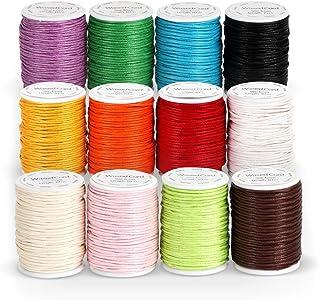 ABSOFINE 12 Rollen Gewachste Baumwollschnur Wachsband Baumwollkordel 10m Durchmesser 1mm für Schmuckherstellung DIY Handwerk Machen