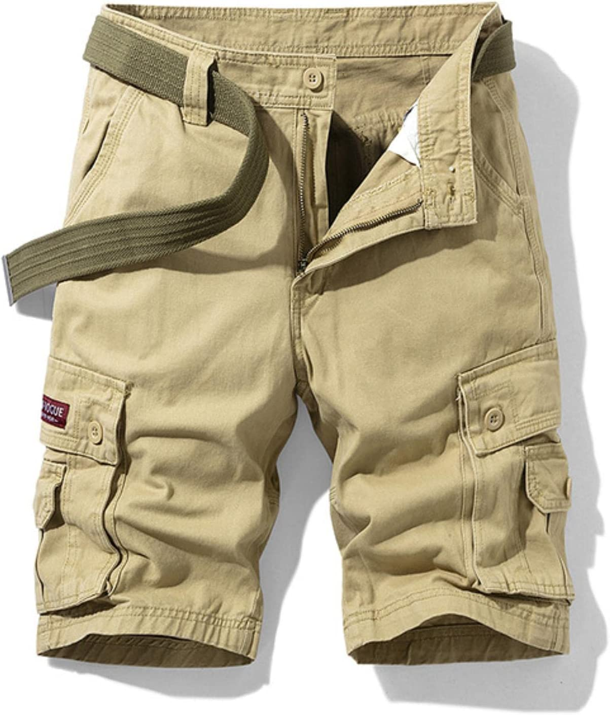 Men's Military Cargo Shorts Solid Multi Pocket Casual Fitness Loose Work Pants Summer Male Tactical Short No Belt