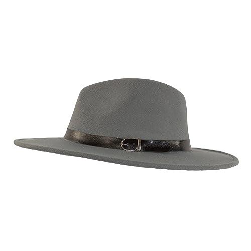 a0169baedad MWS Wide Brimmed Gangster Fedora w Buckle Hatband