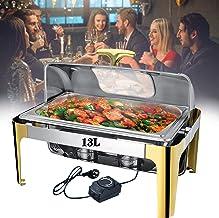 DBZDM Chafing Dish Chauffe-Plat Electrique pour Buffet, 9L/13L Chauffe-Plats en Acier Inoxydable pour Hôtel/Fête/Cuisine/b...