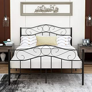 Victorian Vintage Style Platform Metal Bed Frame Foundation Headboard Footboard Heavy Duty Steel Slabs Queen Full Twin Vintage Black Finish (Queen)