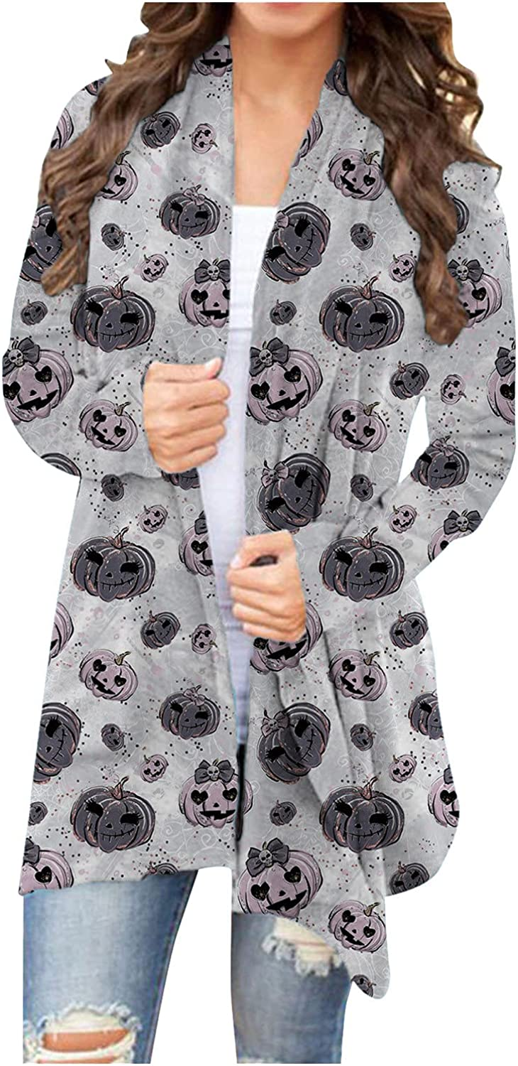 Halloween Cardigans for Women Loose Long Sleeve Open Front Kimono Cardigans Pumpkin Spider Web Print Graphic Outerwear Coat