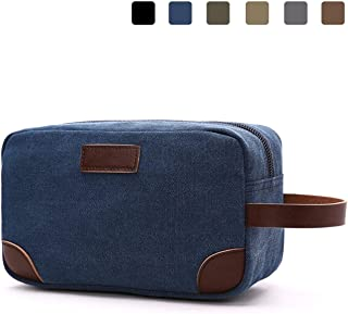 Canvas Travel Toiletry Bag Vintage Shaving Dopp Kit with Leather Handle
