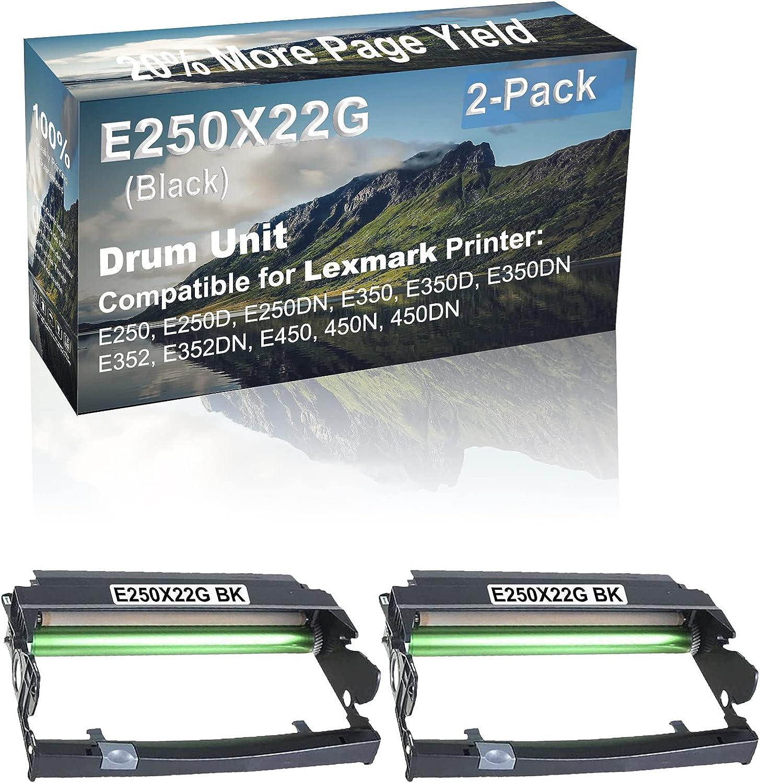 2-Pack Compatible E250X22G Drum Kit use for Lexmark E250, E250D, E250DN, E350 Printer (Black)