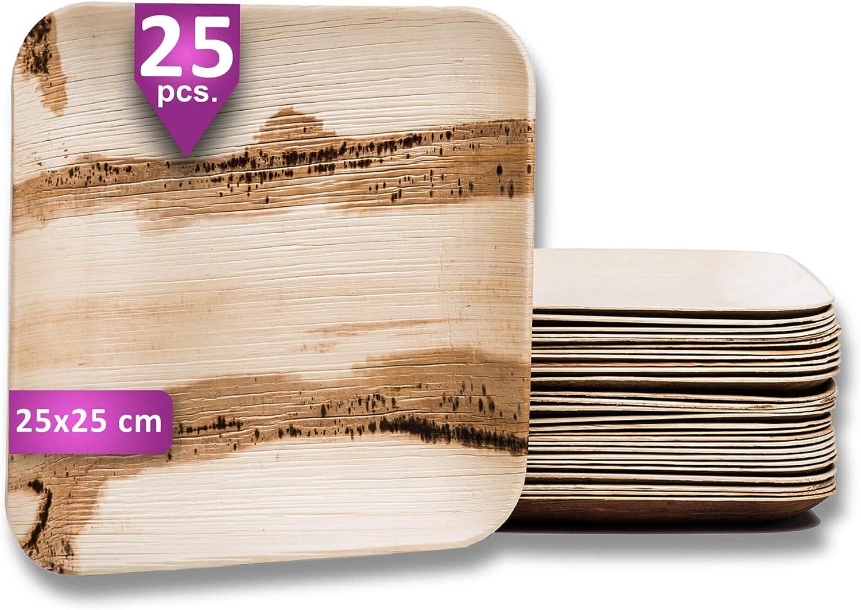 Waipur Platos Hoja de Palma Orgánicos – 25 Platos Desechables Cuadrados 25x25 cm - Vajilla Ecológica de Lujo, Estable, Natural y Biodegradable - Platos de Fiesta – Platos de Boda