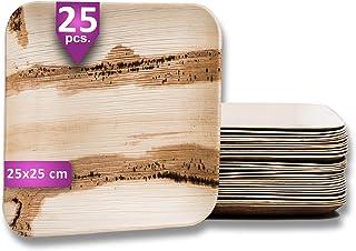 Waipur Assiette Palmier Bio - 25 Assiettes Carrées 25x25 cm – Vaisselle Jetable de Qualité Supérieure - Stable, Naturelle ...