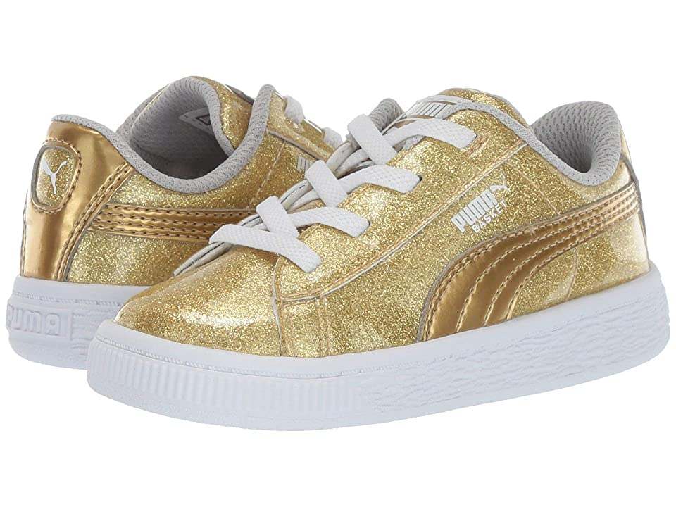 Puma Kids Basket Metallic Slip-On (Toddler) (Puma Team Gold/Gray Violet/Puma White) Kids Shoes