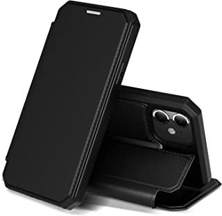 iPhone 11 ケース 手帳型 6.1インチ アイフォン 11 カバー PUレザー スタンド マグネット機能 カード収納 ワイヤレス充電対応 スマホケース 放熱性抜群 衝撃吸収 全面保護カバー (ブラック)