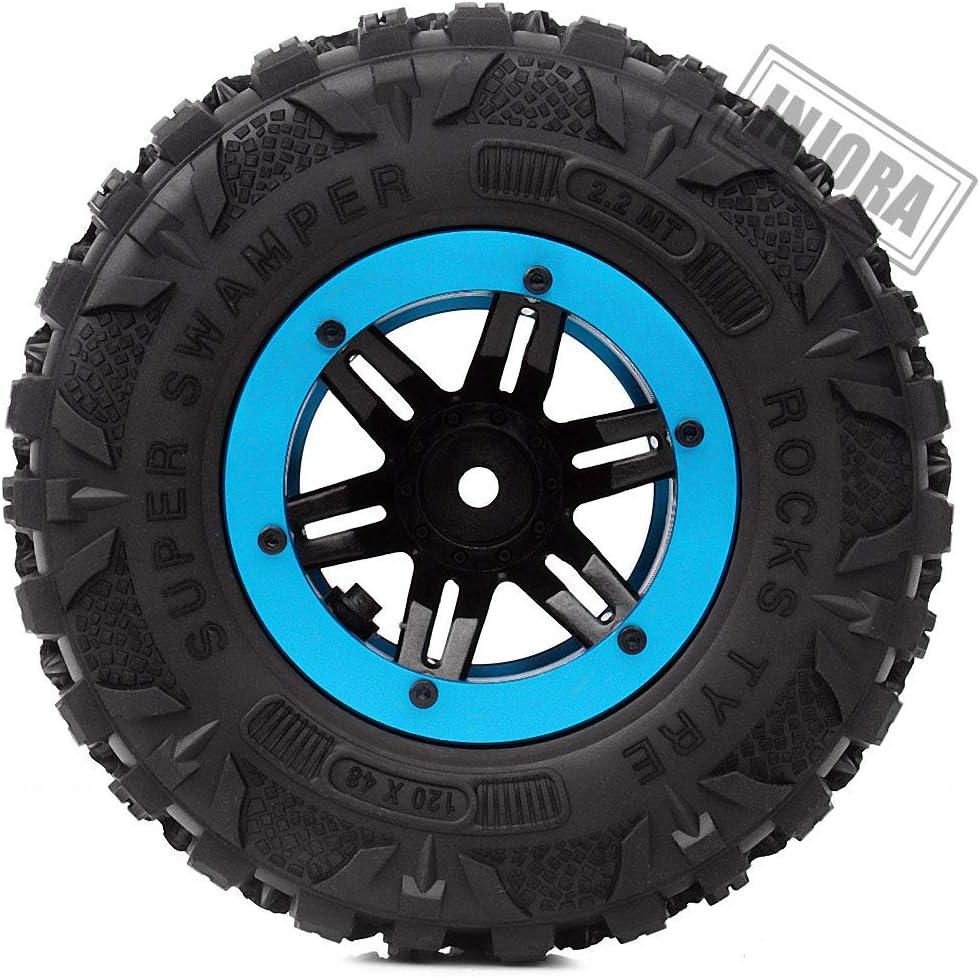 Azul INJORA RC Rueda Set 4pcs 2,2inch Llantas con Beadlock Cubo para 1//10 RC Rock Crawler Axial SCX10 90046 90047 Traxxas TRX-4