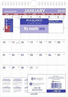 AT-A-GLANCE PM128-18 Monthly Wall Calendar, January 2018 - December 2018, 8
