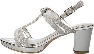 VALLEVERDE 38531 Sandalo Scarpe Tacco Pelle Donna Argento Strass