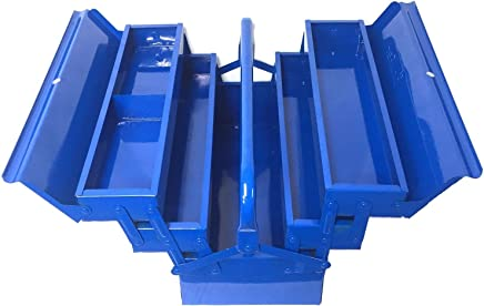 BRUFER 90042 5-Tray Cantilever Metal Tool Box 16-inch, Blue