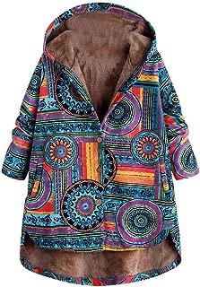 Women Warm Jacket Vintage Ethnic Print Fleece Hooded Long Sleeve Button Winter Coat DongDong