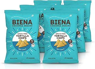 BIENA Chickpea Tortilla Chips, Sea Salt 6-Pack | Grain Free | Gluten Free | Vegan | Dairy Free | Plant-Based Protein