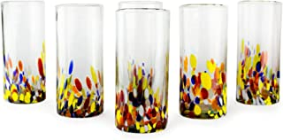 NOVICA Hand Blown Multicolor Recycled Glass Cocktail Glasses, 19 oz 'Confetti' (set of 6)