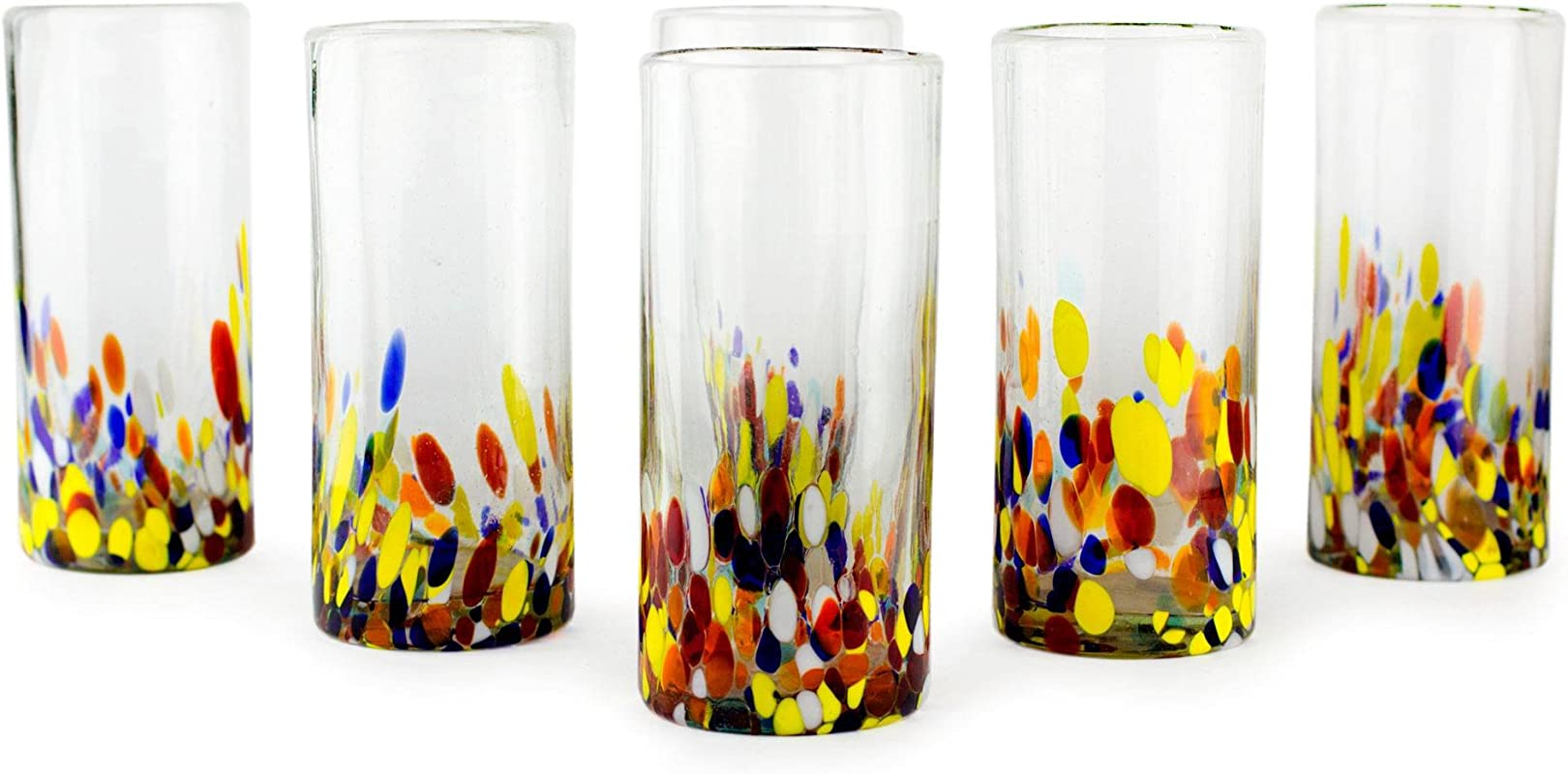 NOVICA Hand Blown Multicolor Recycled Glass Cocktail Glasses 19 Oz Confetti Set Of 6