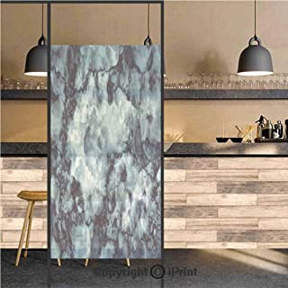 3D Decorative Privacy Window Films,Antique Marble Stone with Blurry Distressed Motley Fractal Effects Illustration,No-Glue Self Static Cling Glass film for Home Bedroom Bathroom Kitchen Office 24x48 I