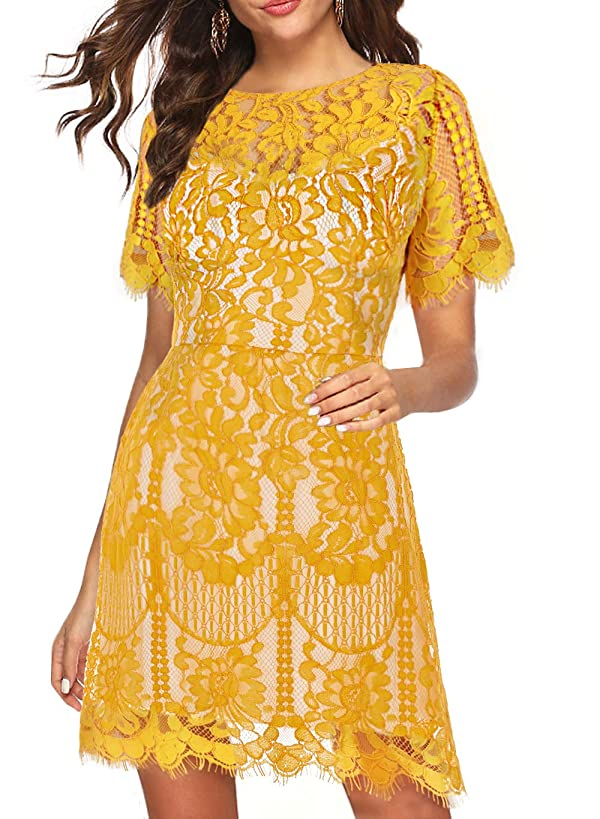 Women's Elegant Rounded Neck Short Sleeves V-Back Lace Cocktail Party A Line Dress 910