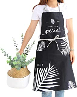 Kitchen Apron for Women & Men with Pocket - Cotton Adjustable Strap Extra Long Ties Smocks for Cooking Baking Cleaning (Palm Leaves Pattern Black)