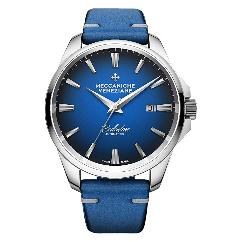 Meccaniche Veneziane Men's Automatic Watch Redentore 1201005 Blue with Leather Strap Swiss Made