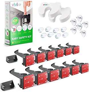 Universal Baby Safety Kit Vivi Kids – Complete Baby Proofing Kit – 28 Pieces – 12 Concealed Cabinet Locks, 8 Corner Protec...